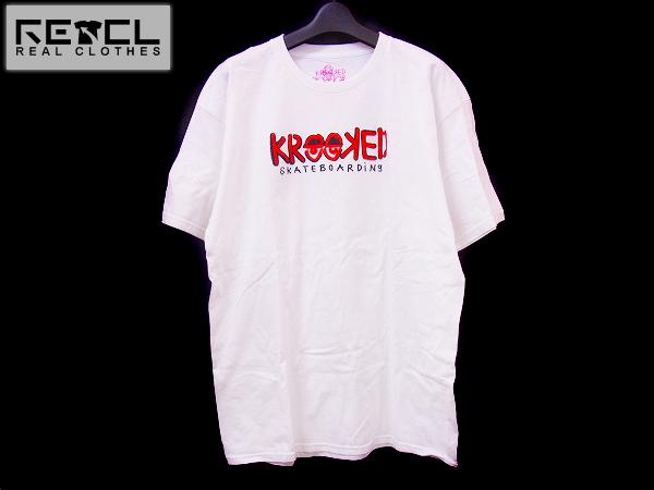 実際に弊社で買取させて頂いたKROOKED/クルックド skateboardingロプリント半袖Tシャツ 白/L