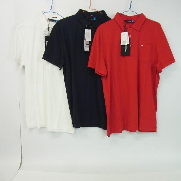 J.LINDEBERG/Jリンドバーグ ゴルフウェア 半袖プルオーバー SLIM FIT ホワイト/レッド/ネイビー XL 3点セット