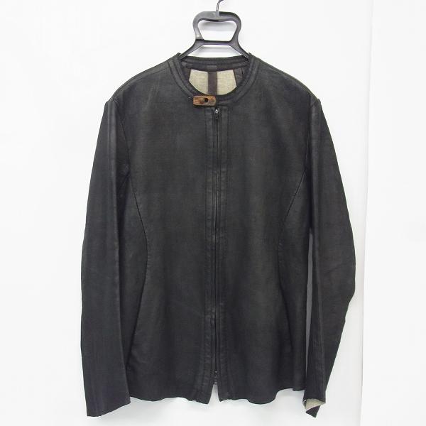 ISAAC SELLAM/アイザックセラム レザーノーカラージャケット 羊革 切りっぱなし/M