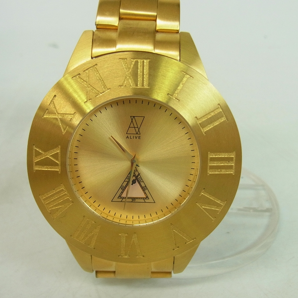 実際に弊社で買取させて頂いたALIVE ATHLETICS/アライブアスレティ 腕時計 クオーツ hhat578/ゴールド【動作未確認】