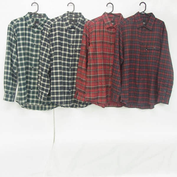 MIZUNO/ミズノ ゴルフウェア  マドラスチェック等 長袖シャツ Lサイズ 4点セット