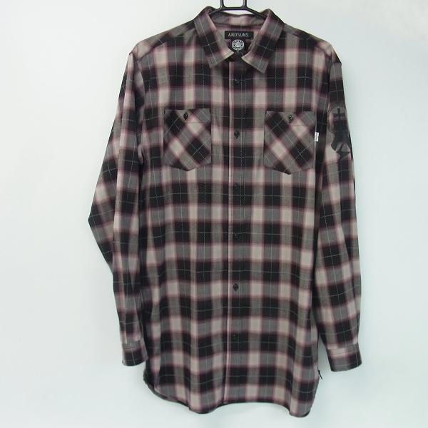 ANDSUNS/アンドサンズ サイドジップ ビッグシルエット 長袖 チェックシャツ /X
