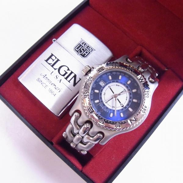 ELGIN/エルジン ロゴ入り オイルライター/クォーツ 腕時計 FK-914-C セット【動作未確認】
